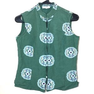 Vintage Green mandarin collar sleeveless linen top